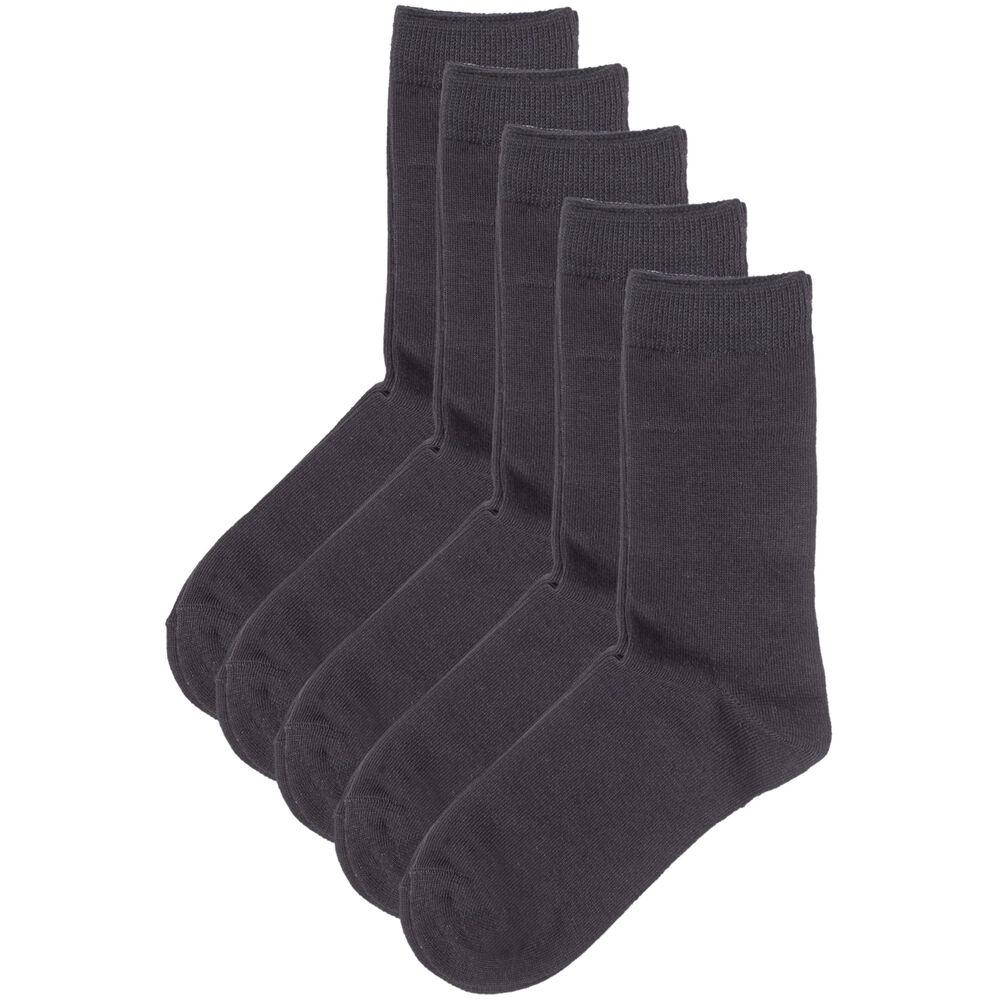Sokker økologisk bomull x5 37-40, black, hi-res