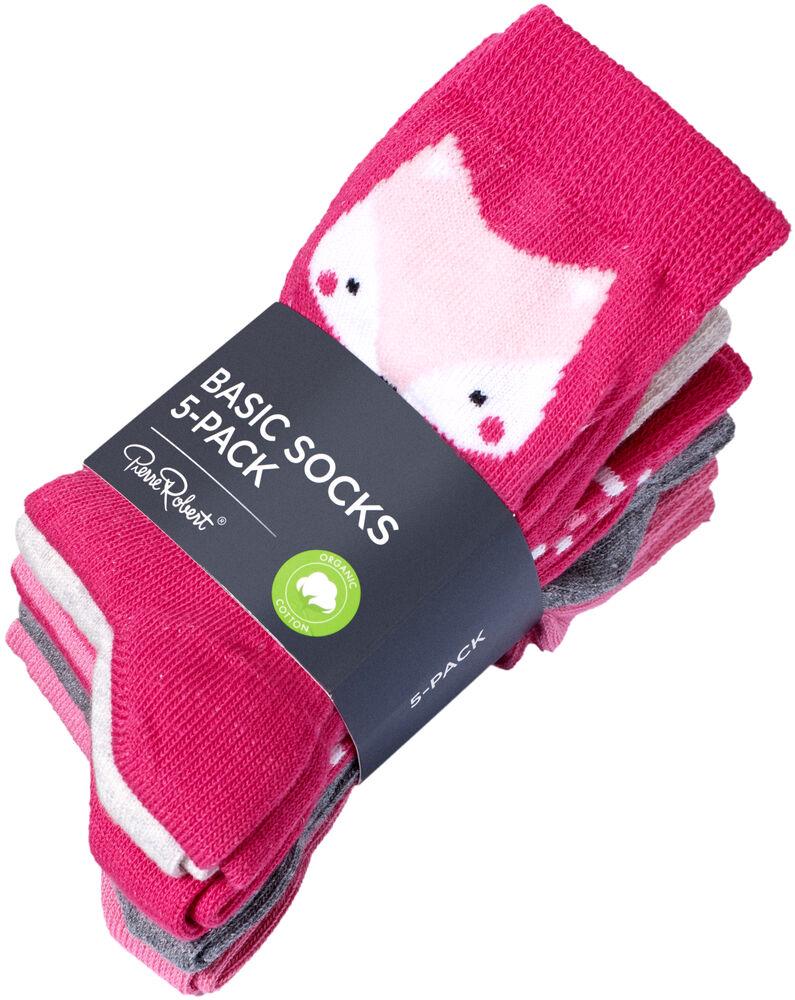 Sokker i økologisk bomull x5, pink, hi-res