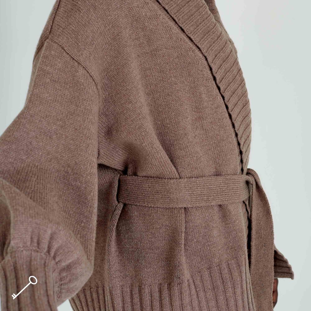 Loungewear Jakke merinoull, deep taupe, hi-res