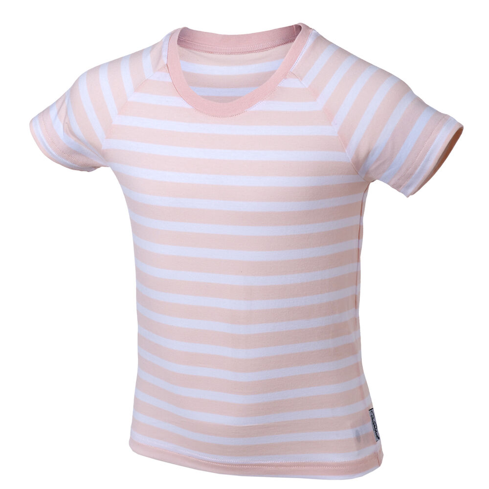 T-Skjorte Barn Rosa og Hvit 3-8 år, pink stripe, hi-res