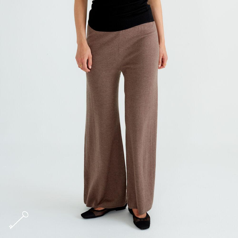 Loungewear bukse merinoull, deep taupe, hi-res
