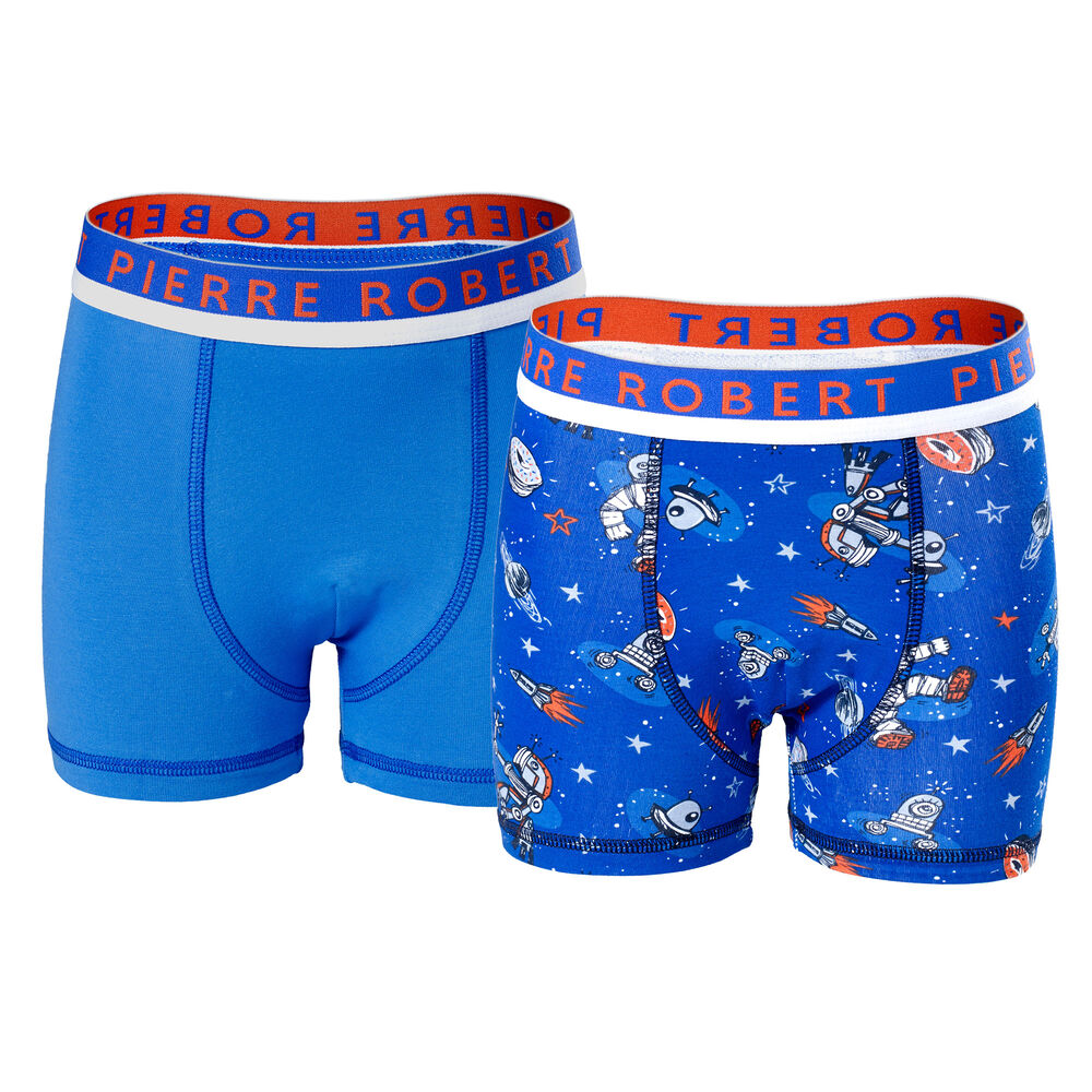 Boxer Økologisk Bomull Gutt 3-8 år Sterk Blå & Blå, strong blue pattern &blue 2-17, hi-res