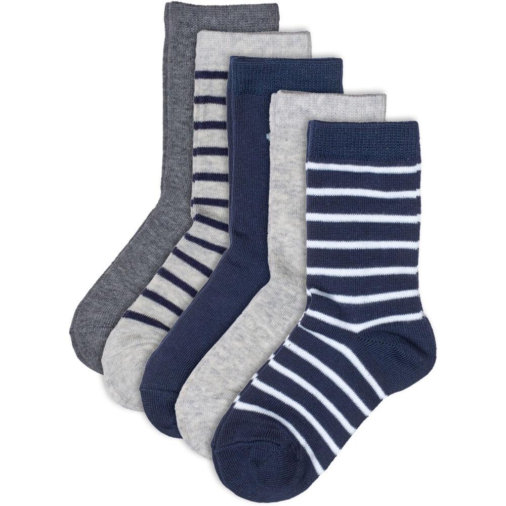 Sokker Barn Økologisk Bomull X5 Blå Miks, blue mix, hi-res