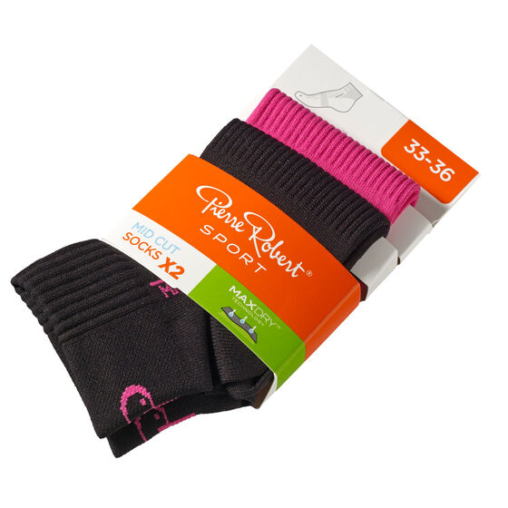 Lasten Urheilusukat 2-pack, pink and black, hi-res