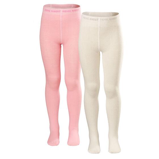 2-pack strumpbyxor bomull benvit/ljusrosa, whinter white and soft pink, hi-res