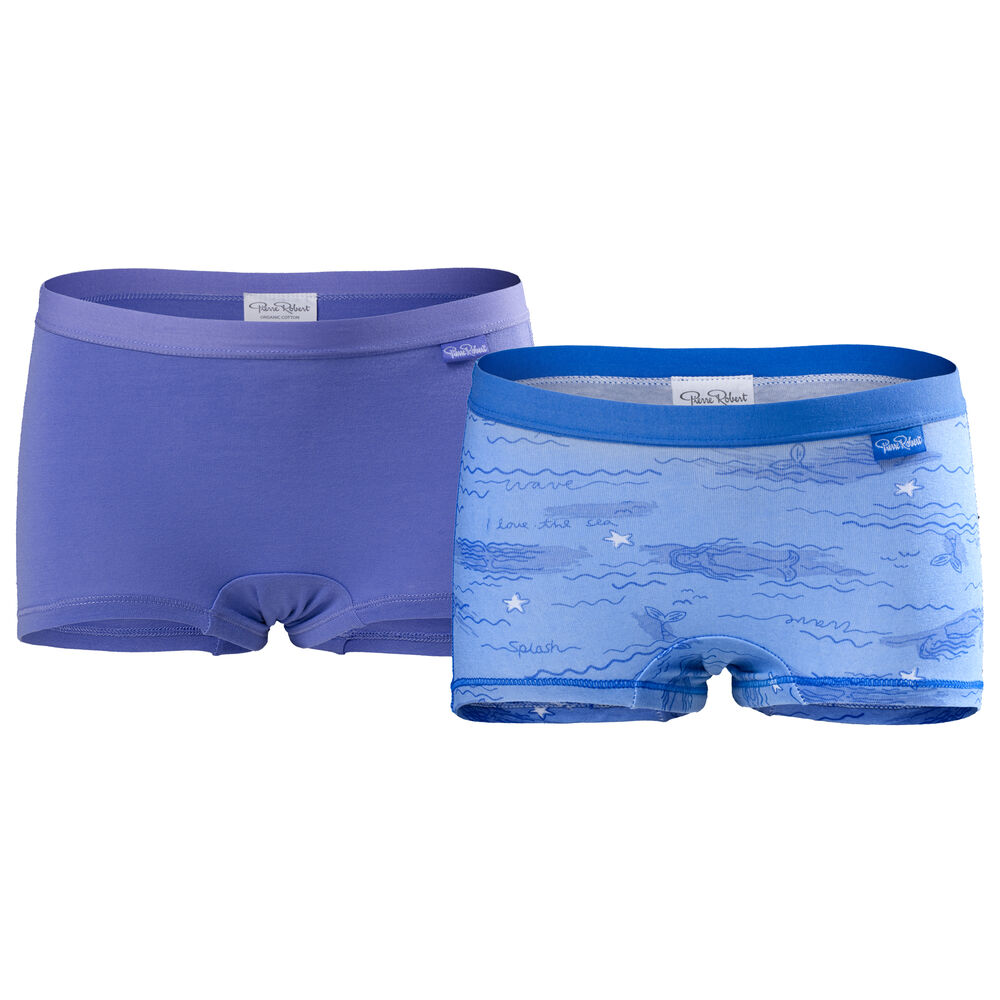 Luomupuuvillaiset tyttöjen bokserit (GOTS) Light Blue & Lilac 2-pack, light blue lilac, hi-res