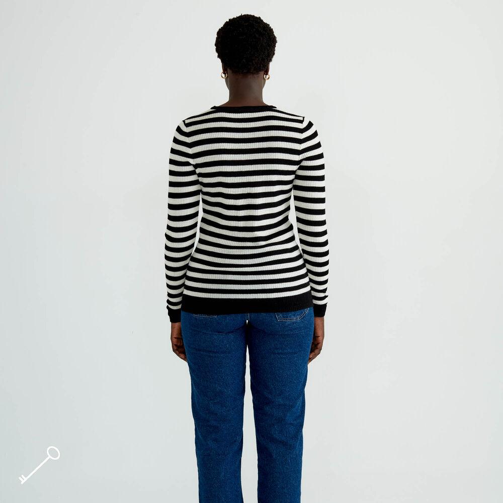 Tynn ullgenser, blacwhite stripe, hi-res