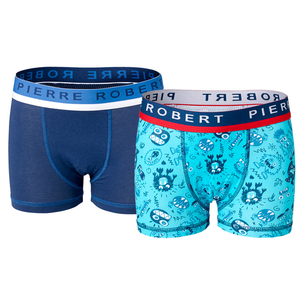 Poikien puuvillabokserit Turquoise & Navy 2-pack, turq - navy pattern and navy, hi-res