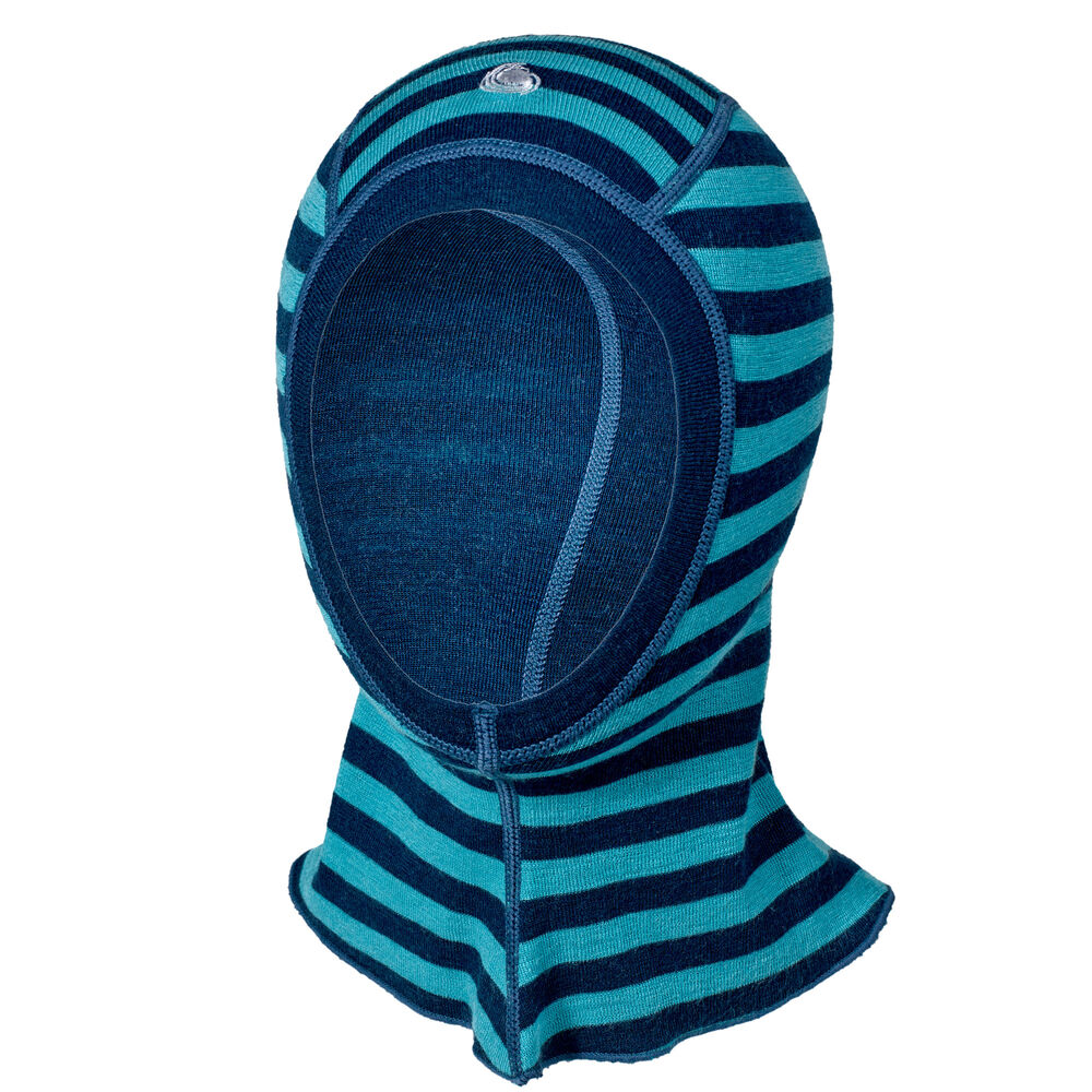 Balaclava Ull Navy og Mint Striper, navy mint stripe 2-17, hi-res
