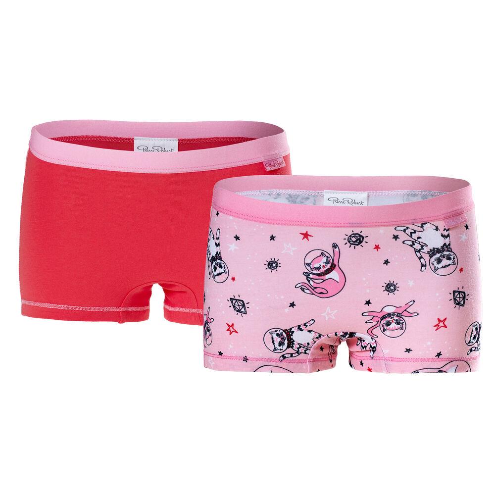 Trosor 2-pack ekologisk bomull flickor 3-8 år, pink pattern & red 2-17, hi-res