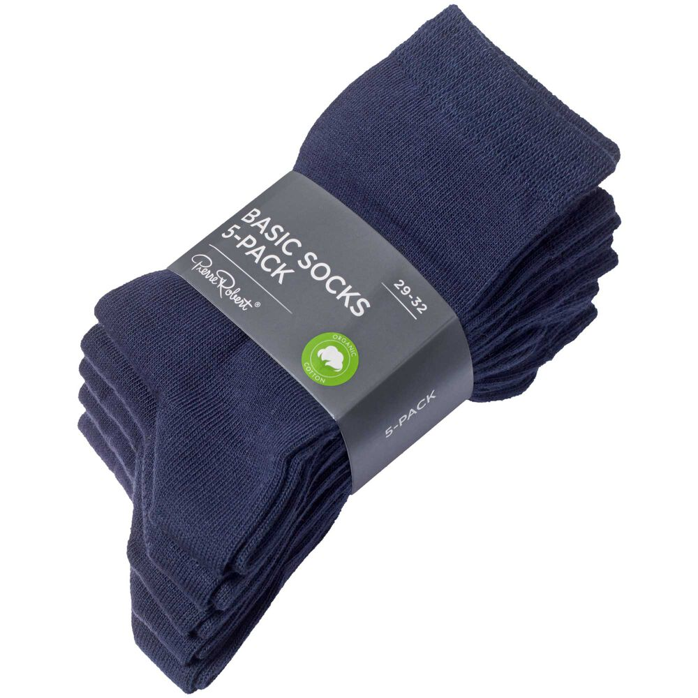 Sokker i økologisk bomull x5, navy, hi-res
