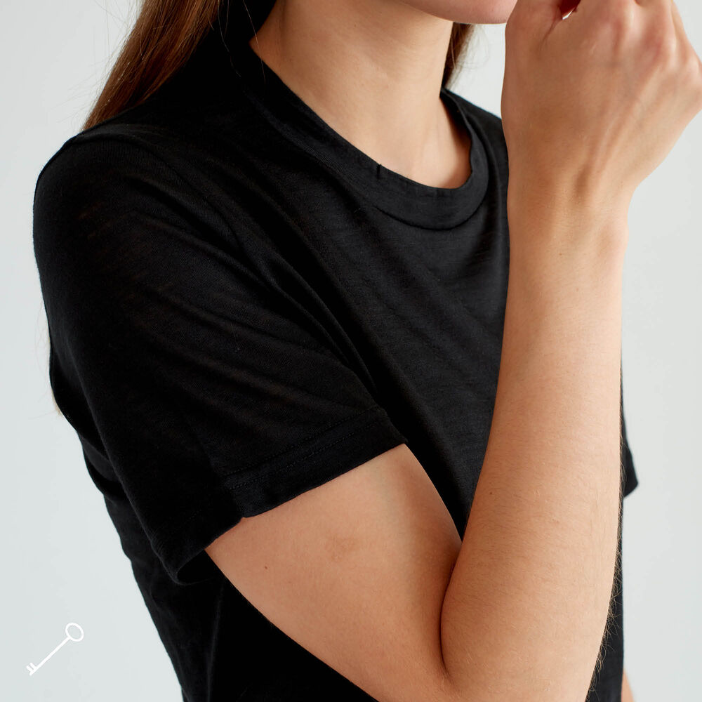 Løs T-skjorte Ull, black, hi-res