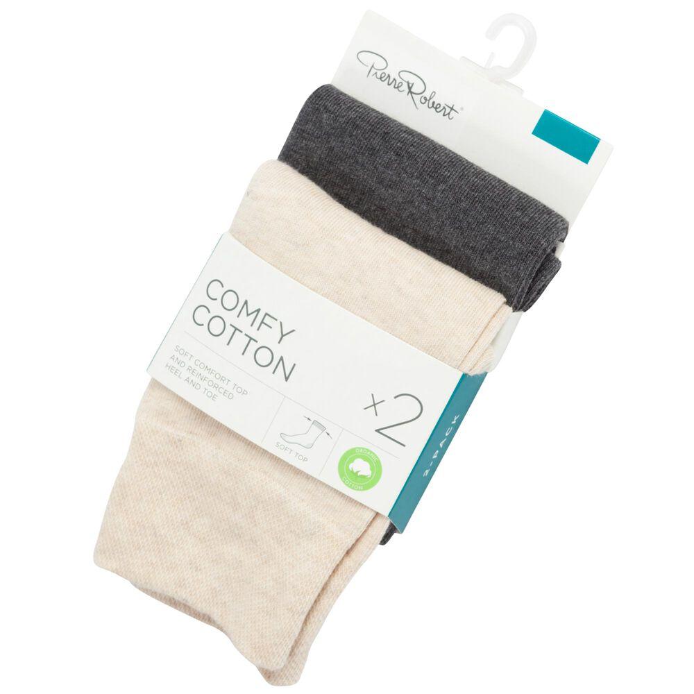 Sokker i økologisk bomull x2 37-40, beige mix, hi-res