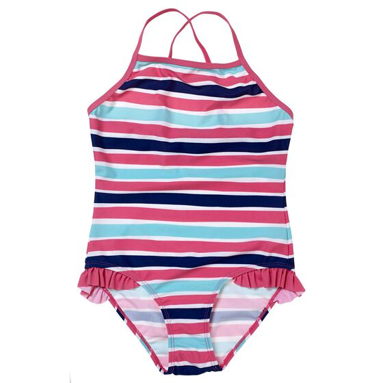 Badedrakt Jente Navy Striper, nautical pink, hi-res