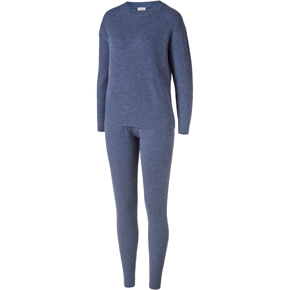 Loungewear genser i 100% merinoull Dusty Navy, dusty navy, hi-res