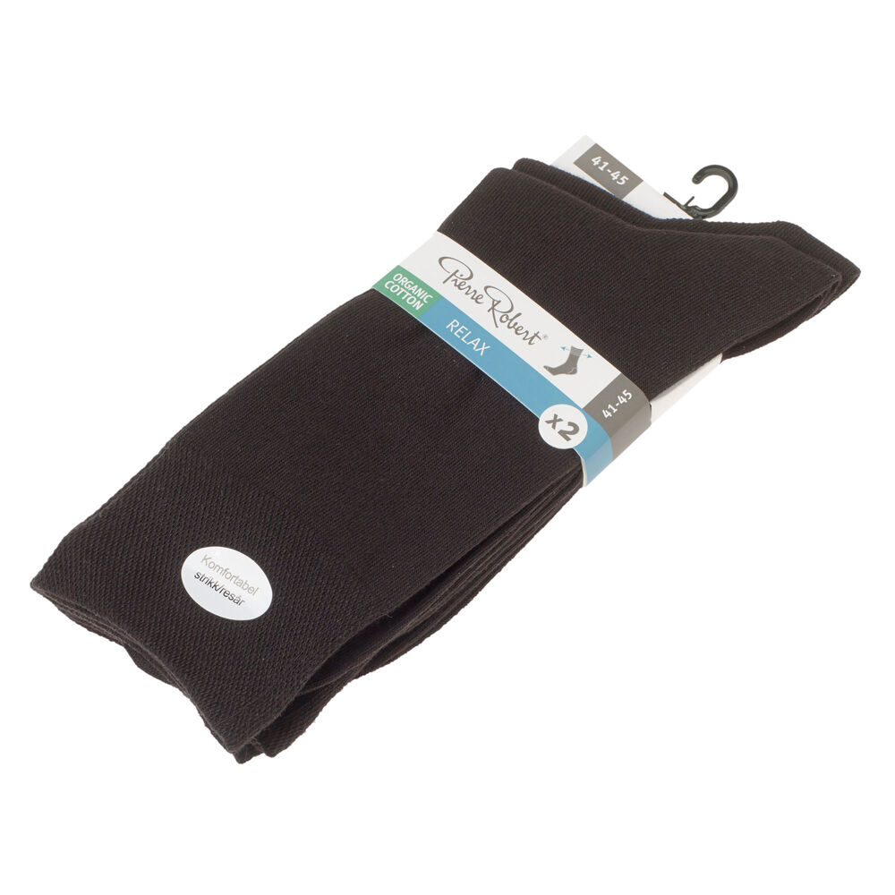 Relax-luomupuuvillasukat 2-pack, black, hi-res