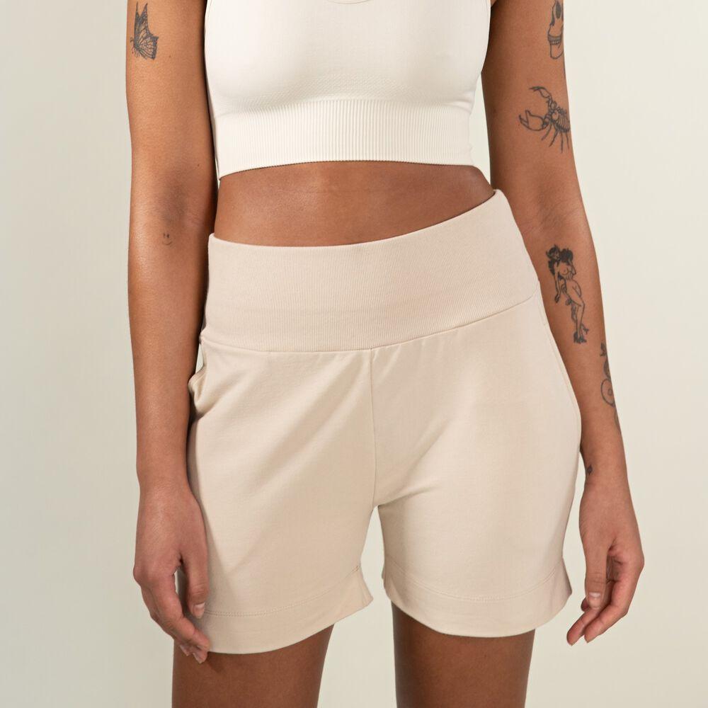 Shorts i Ekologisk Bomull, white sand, hi-res