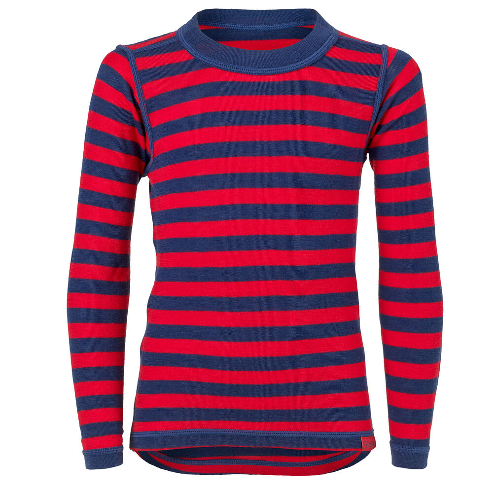 TRÖJA MERINOULL BARN NAVY/RED, red & navy stripe, hi-res