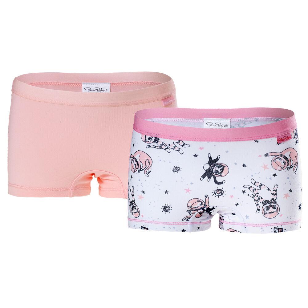 Boxer Økologisk Bomull Jente 3-8 år Hvit og Rosa, white pattern & pink 2-17, hi-res
