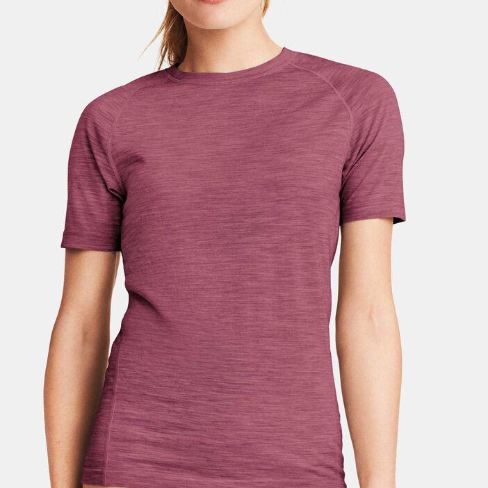 2d4093bd T-skjorte i tynn ull Dame Lys Burgunder