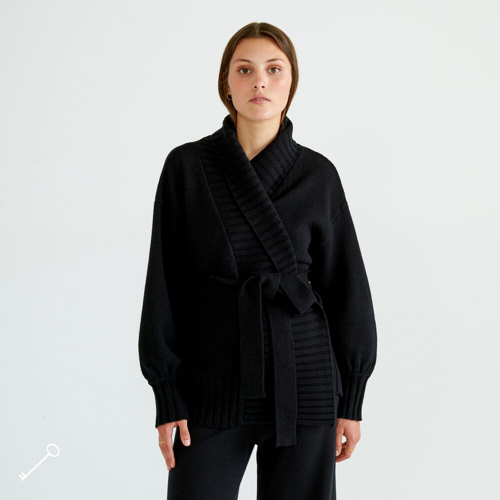 Loungewearjacka Ull, black, hi-res